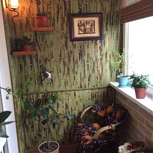 Бамбуковые обои зелёные с рисунком 1 метр