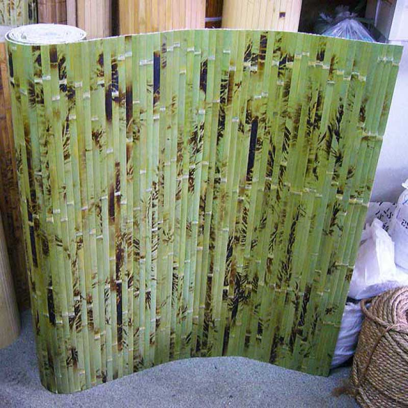 Бамбуковые обои зелёные с рисунком 90 см