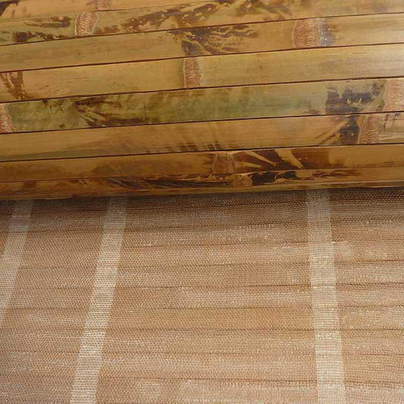 Бамбуковые обои коричневые с рисунком