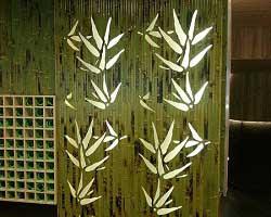 Бамбуковые обои зелёные с рисунком фото