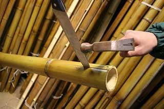Начинаем раскалывать ствол бамбука