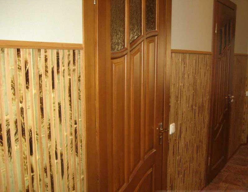 Бамбуковые обои комбинированные в интерьере