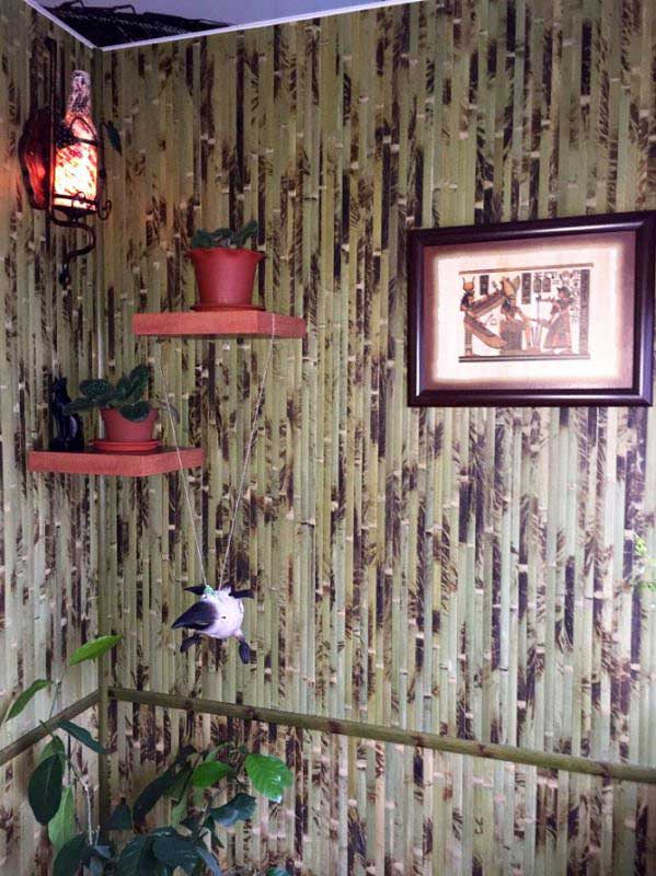 Бамбуковые обои зелёные с рисунком
