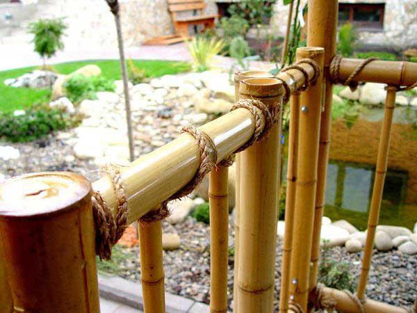 Бамбук в интерьере. Бамбуковая перегородка и канат.