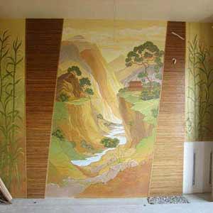 Вставки на стене бамбуковые обои