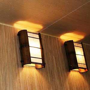 Натуральные обои и светильники из бамбука