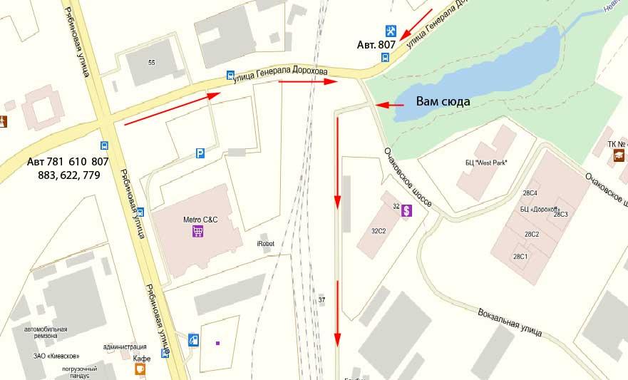 Схема проезда на склад магазин Бамбук в Очаково